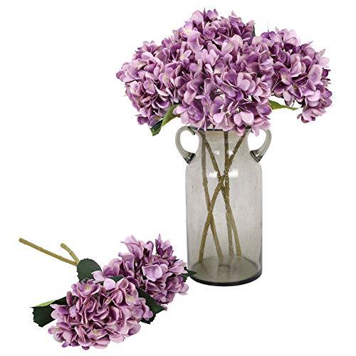 Kisflower 6Pcs Hortensia de Seda Flores Artificiales Hortensia Realista Ramo de Flores para la Fiesta de Bodas Oficina Decoración para el hogar (púrpura)