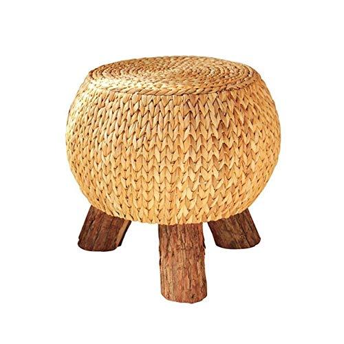 ZBYY Taburete Puff Almacenaje Redondo Taburete De Cocina Taburetes De Bar Ratán Natural Patas De Madera para Salón Y Dormitorio 31 * 31 * 39cm