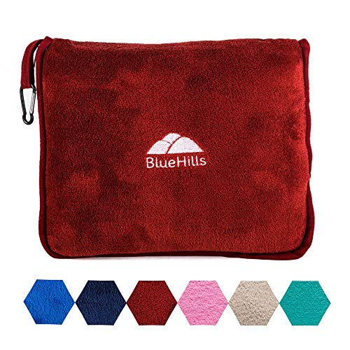 BlueHills Premium Soft Travel Blanket Pillow Airplane Blanket Packed in Soft Bag Pillowcase with Hand Luggage Belt and Backpack Clip, Compact Pack Large Blanket for Any Travel (Red T001)