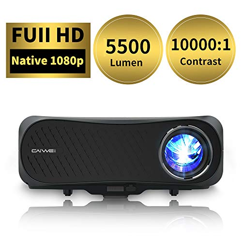 Native 1080P Full HD Projector, 5500 Lumen LED Home Cinema Video Projector with Zoom, 55000Hrs Life, Compatible with Phone, PC, TV Box, PS4, HDMI...