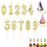 10 velas de número de pastel de cumpleaños 2 sombreros de fiesta, número dorado 0-9 decoración de fiesta de cumpleaños con vela de cumpleaños decoración de pastel