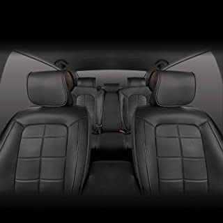 Motor Trend M412 Front & Rear Full Set SeatWrap Leatherette Car Seat Covers-PU Leather Interior Cushion Protectors-Charcoal Accent Piping on Black