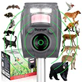 DURANOM Outdoor Ultrasonic Wild Animal Repeller - Cat Deer Repellent Solar Powered, Motion Sensor, Strobe, Alarm