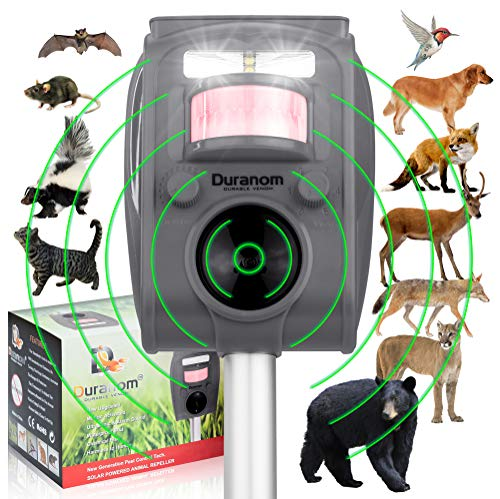 DURANOM Ultrasonic Wild Animal Repeller - Cat Deer Repellent Solar Powered - Motion Sensor Activated Flashing Strobe - Outdoor Alarm Pest Deterrent Device (Military Grey)