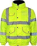 Kentex Online Mens High Visibility Jacket Hi Vis Bomber Jacket Padded Winter Warm Jackets (Large, Yellow)