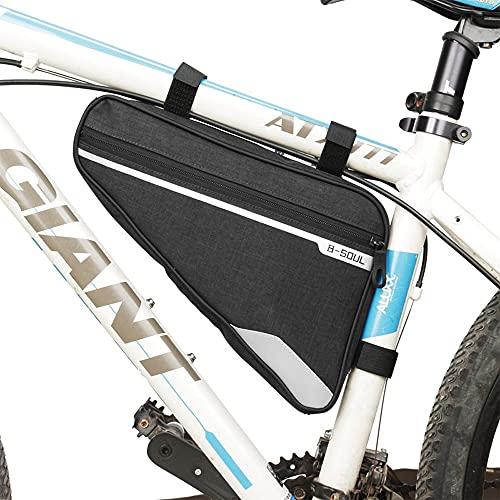 COMBLU Bolsas Bicicleta Cuadro,Bolsa Triangular de Bicicleta,Bolsa del Tubo Frontal con Tiras Reflectantes,Bolsa Triangular de Gran Capacidad Adecuado para MTB Bicicleta Carretera, Bicicleta Montaña