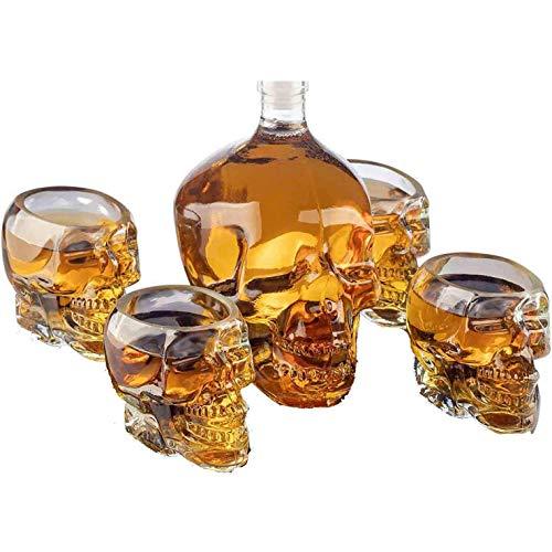Decantador de whisky - Jarra grande con forma de calavera con 4 vasos de chupito de calavera, vaso de chupito de vodka de 300 ml ideal para brandy, licor, whisky, bourbon, vodka