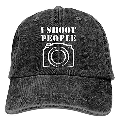 mn Black Baseball Cap-I Shoot People Trucker Hat Washed Cotton Vintage Adjustable Dad...