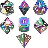 TecUnite Set von 7 Solid Metal Würfel Regenbogen Polyhedral Würfel Set für Rollenspiele Dungeons...