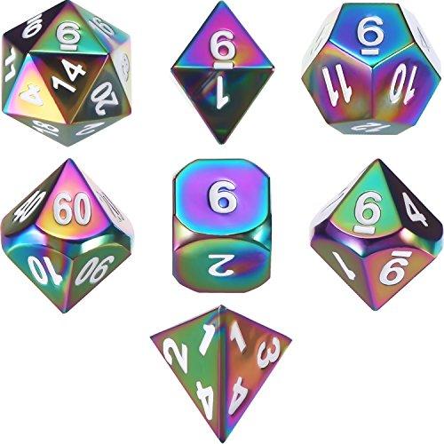 TecUnite Set von 7 Solid Metal Würfel Regenbogen Polyhedral Würfel Set für Rollenspiele Dungeons and Dragons RPG Würfel Gaming D & D Math Lehre mit Kordelbeutel