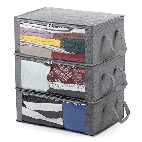 Magicfly 3 Stück Faltbare Aufbewahrungstasche Unterbett Unterbettkommode mit Sichtfenster für Bettwäsche/Kleidung/Decken/Kissen/Pullover Grau