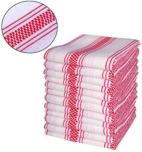 100% Cotton Kitchen Dish Towels (Basket Weave & Waffle Stripe Design) Tea Towels Dish Cloths Machine Washable, Set of 12, D13-18'x28'- Red