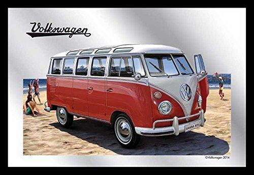 Empire Merchandising 657633 - Espejo con decoración y Marco imitación Madera (30 x 20 cm), diseño de Caravana Volkswagen