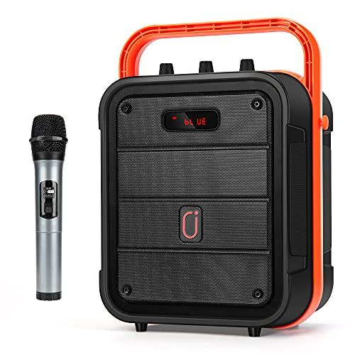 JYX Máquina de karaoke con micrófono inalámbrico, soporte de altavoz de karaoke tarjeta USB/TF, radio FM, grabación, altavoz Bluetooth perfecto para el hogar, fiesta al aire libre y viajes