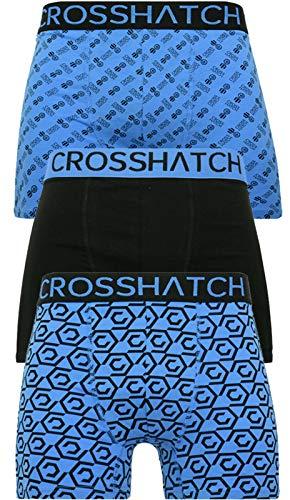 Crosshatch Herren-Boxershorts, 3er-Pack, Unterwäsche, Unterhosen, Multipack Gr. L, Gleason - Schwarz Blau