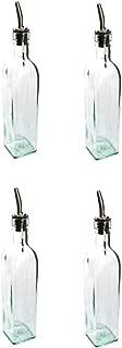 SET OF 4-16 Oz. (Ounce) Oil Vinegar Cruet, Square Tall Glass Bottle w/Stainless Steel Pourer Spout