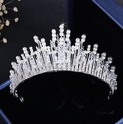 baidicheng Bridal Jewelry Set Crystal Pearl Bridal Jewelry Sets Rhinestone Choker Tiara Nigerian African Beads Necklaces Earrings Set (Metal Color : 1Pcs Crown)