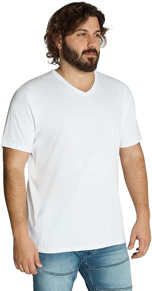 Johnny Bigg Mens Essential 100% Cotton Short Sleeve V Neck Regular Fit Tee White - Casual Top LT