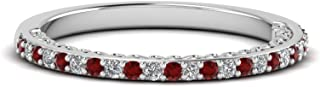 Half Eternity Red Garnet & White Simulated Diamond 925 Sterling Silver Thin Engagement Wedding Band Ring