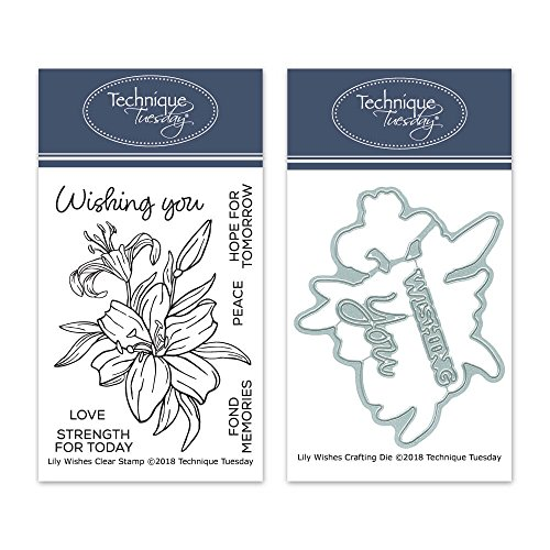 Lily Wishes Clear Stamps with Matching Metal Dies   Flowers Rubber Stamps   Clear Rubber Stamps   Photopolymer Stamps   Die Cuts   Craft Dies   Card Making Supplies