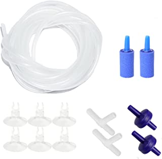 """AQUANEAT Aquarium 14Feet Airline Tubing, Standard 3/16"""" Tubing, with Air Stones, Air Pump Valves, Suction Cups and Connectors"""