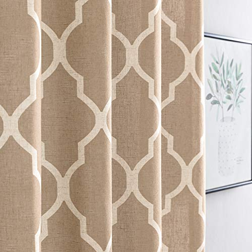 jinchan Linen Curtains for Living Room Curtain Quatrefoil Flax Linen Look Lattice Moroccan Tile Print Window Treatment Set for Bedroom Geometry 63 inch Long Taupe Set of 2 Panels