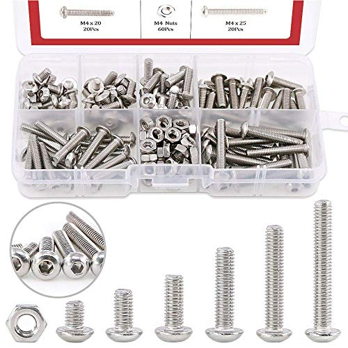 Hilitchi 180-Piece [M4] Stainless Steel Hex Socket Button Head Cap Bolts Screws Nuts Assortment Kit (M4)
