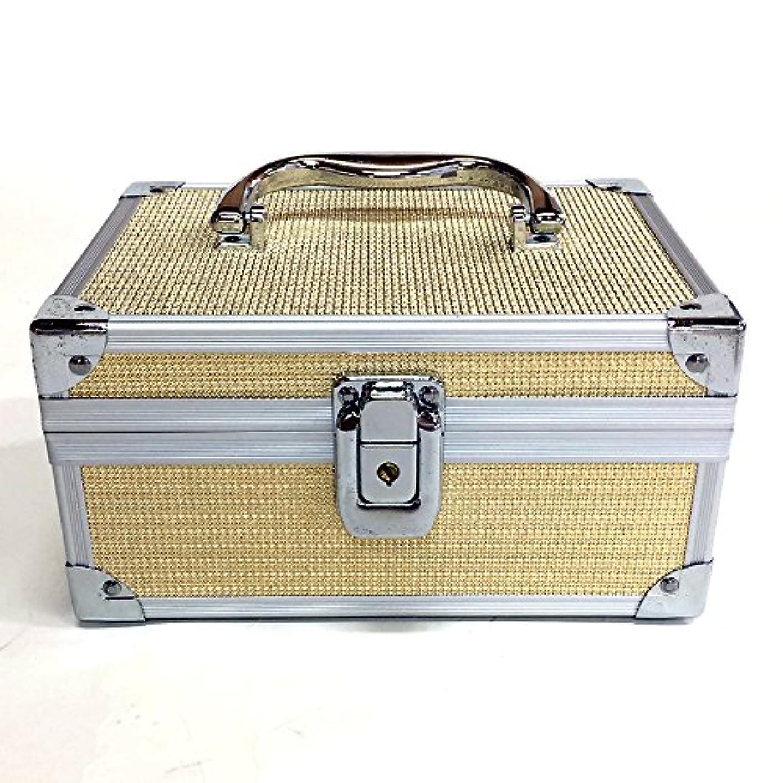 テーブルひどい海イケナガ(IKENAGA) メイクボックス ミニ D2501 [ゴールドエンボス] 化粧品収納 鏡付き 工具箱 ツールボックス 小物入れ メイクポーチ