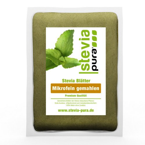 steviapura | Stevia Blätter - reines Naturprodukt - Süßkraut Stevia, mikrofein gemahlen - pflanzlicher Süßstoff 100g - Premium Qualität