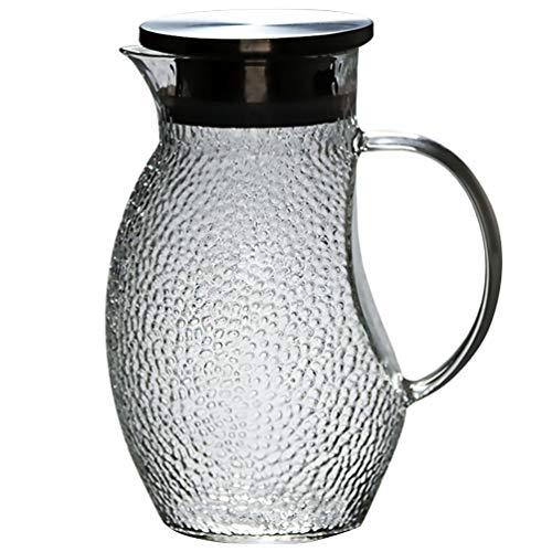 Hemoton Glazen Theepot Glazen Waterkan Grote Capaciteit Hittebestendig Water Beker Eendenbek Waterkoker Voor Warm Koud Water Thee Melk Koffie Sap Drinken (Zilver)