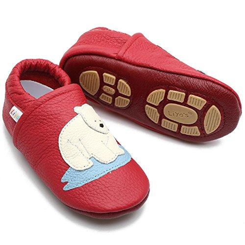 Liya's Babyschuhe Hausschuhe Exclusiv mit Gummisohle - #674 Eisbär in rot - Gr. 23/24