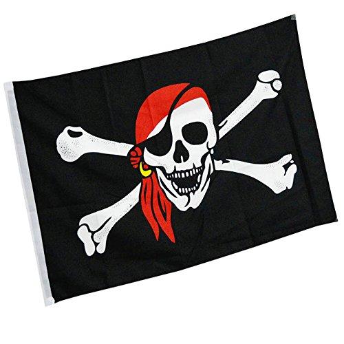 DDG EDMMS Piratenflagge, 1 Stück, 90 x 150 cm, zum Aufhängen, große Flagge am Mast, für Events und Aktivitäten, mit Totenkopf-Motiv (rote Mütze)