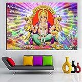 KWzEQ Ganesha Poster Print Canvas Painting Wall Art Modern Wall Art Living Room decoración del hogar,Pintura sin Marco,80x120cm