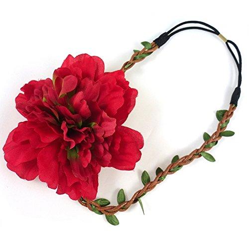 rougecaramel - Accessoires cheveux - Headband couronne de fleurs mariage ou cérémonie - rouge