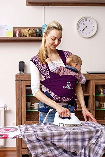 Halten sie ihr Kleinkind ruhig & bleiben sie dabei freihändig – stylisches multifunktionales Babytragetuch – Baumwoll Tragetuch für Neugeborene und Kleinkinder – Tragetasche inklusive – LILA - 5