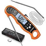 NIXIUKOL Digital Fleischthermometer Instant Read Grillthermometer Küchenthermometer | LCD Bratenthermometer Haushaltsthermometer mit 2 Edelstahlsonden & Bonus-Batterien & Magnet