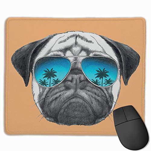 HUAYEXI Stoff Mousepad,Mops Hund reflektierende Flieger Palmen Tropische Umgebung Cooles Haustier Tier Schwarz Orange Blau,Rutschfest eeignet für Büro und Gaming Maus