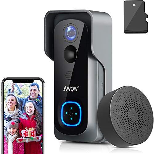 Video Türklingel mit Kamera, AWOW 1080P HD Video Doorbell mit 16GB Speicherkarte, Gegensprechfunktion, IP65 Wasserdicht, Bewegungsmelder, WLAN 2,4G,Unterstützung für DC12v und AC12-24V Trafo