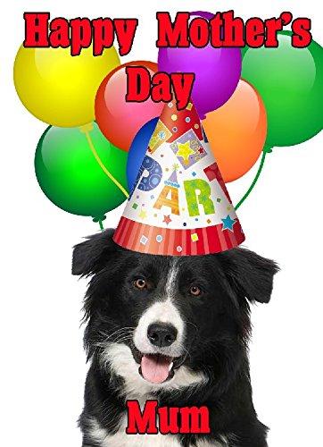Border Collie perro feliz día de la madre tarjeta de gorro de fiesta codebrc personalizado felicitación
