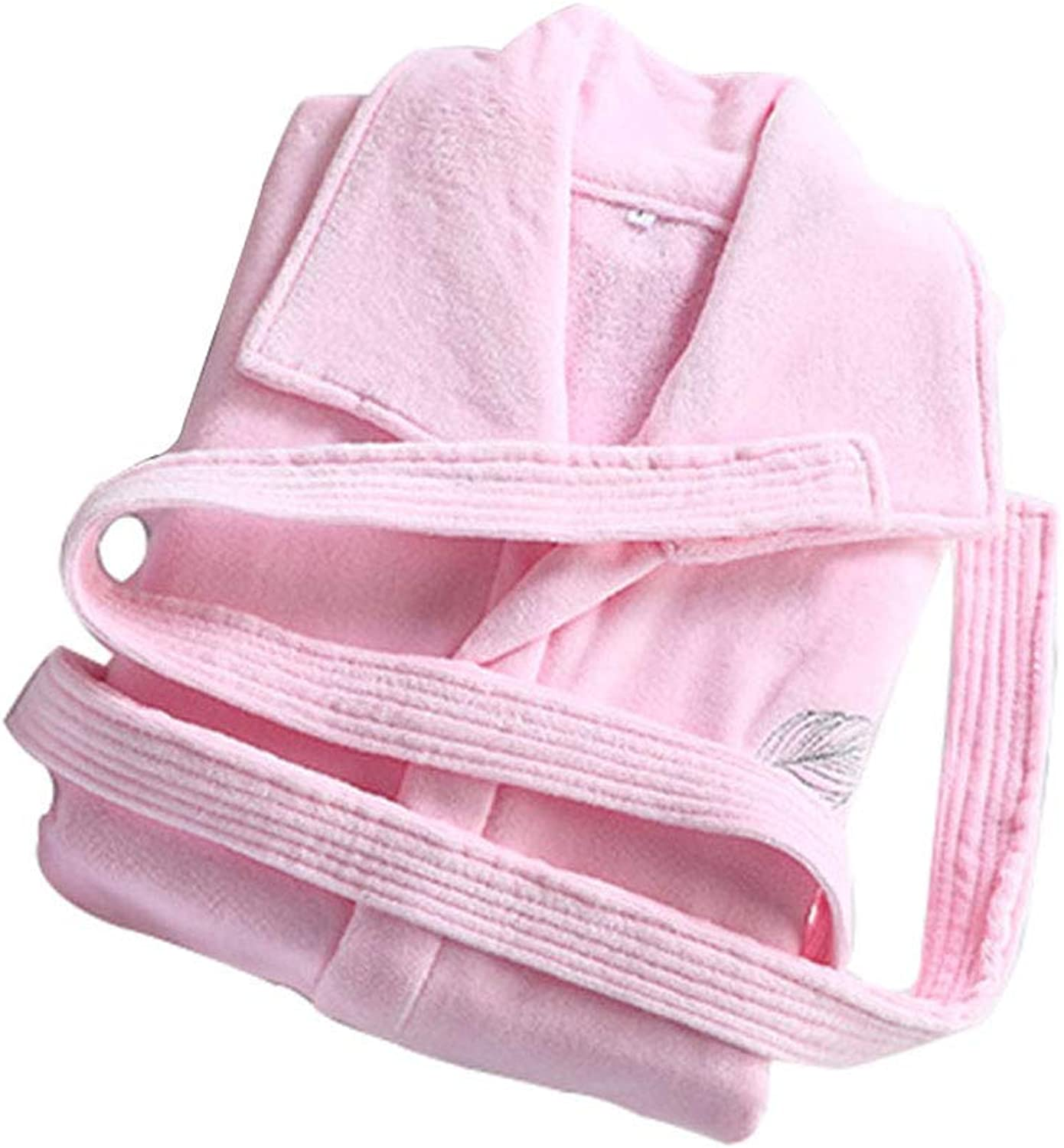 Bathrobe for Women Cotton Terry Cloth, Unisex Luxury Hotel Spa Towel Robes, Square Collar, 2 Pockets