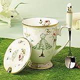 Tazas De Desayuno Vasos Para Té Y Café Copa De Porcelana De Hueso Taza De Cerámica Taza Alta De Agua Retro Con Cuchara De Cuchara, B