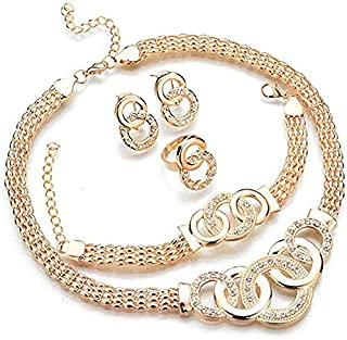 4 Pcs Jewelry Set Crystal Round-shaped Necklace, Bracelet, Ring and Earrings Set Women Girls