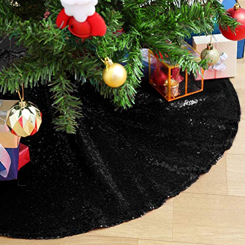 QueenDream Sequin Christmas Tree Skirt 24 Inch Small Black Tree Skirt for Christmas Decorations Halloween Luxury Shimmer Tree Xmas Ornaments