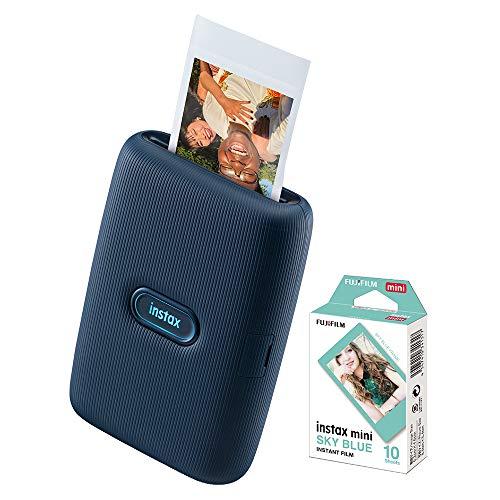 Impressora Instax Mini Link Fujifilm para Smartphone + Filme Instax Sky Blue com 10 poses