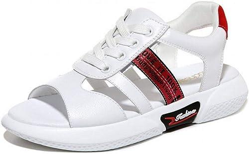 LTN Ltd - sandals Sandales en Cuir à Fond Plat étudiant D'été pour Femmes Enceintes Chaussures Antidérapantes, Rouge, 39