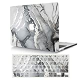 AJYX Funda Dura para 2020 2019 2018 MacBook Air 13 Pulgadas con Touch ID Modelo A2179 A1932, Protectora Rígida Carcasa y Cubierta del Teclado para MacBook Air 13 Retina - Mármol Gris Oscuro