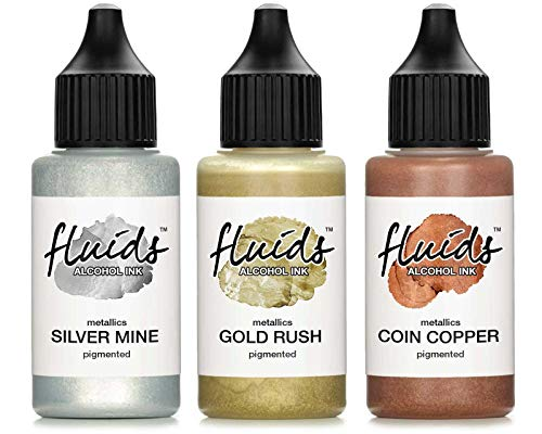 3x 30ml Octopus Fluids Alcohol Ink Set Metallics GOLD RUSH, SILVER MINE, COIN COPPER Alkoholtinte für Fluid Art, Resin und Epoxidharz Farbe
