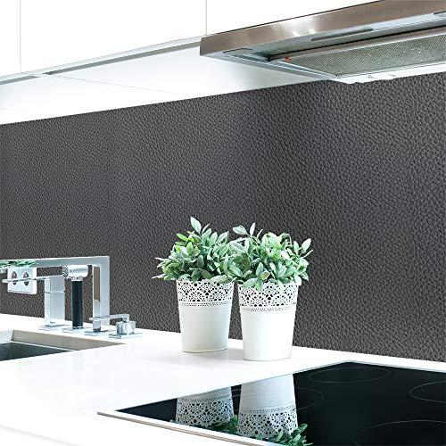 Keuken achterwand lederstructuur antraciet Premium hard PVC 0,4 mm zelfklevend - direct op de tegels 60 x 80 cm