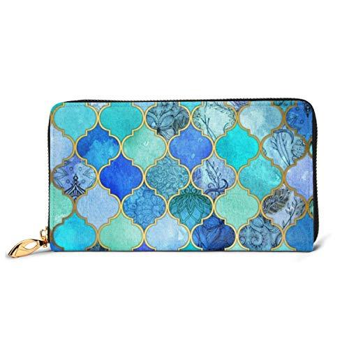Womens kobalt blauw Marokkaanse tegel patroon lederen portemonnees RFID blokkeren Rits rond portemonnee echt lederen koppeling portemonnee kaarthouder Travel portemonnee polsband