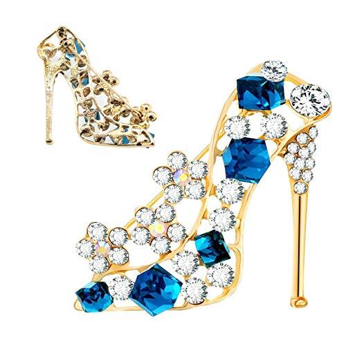 XLKJ 3pcs Broche Mujer de Pedrería en Forma de Tacón Alto de Zapatos,Broches para Ropa Accesorios Boda Novia Elegante